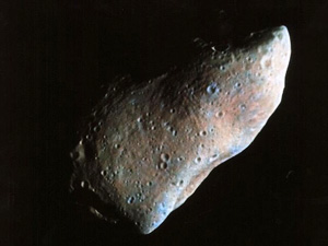 Asteroid '951 Gaspra' captured by the Galileo spacecraft.