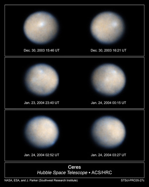 Several views of the dwarf planet Ceres