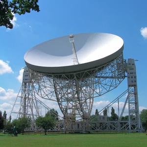 The world famous Lovell radio telescope at Jodrell Bank, Cheshire