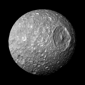 Mimas - one of Saturn's moons - bearing an uncanny resemblance to the Death Star from Star Wars!