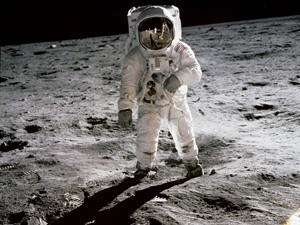 Edwin 'Buzz' Aldrin on the surface of the moon. Photographed by Neil Armstrong during the Apollo 11 lunar mission.