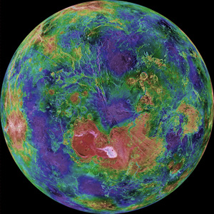 Colorised image of Venus mapped by the Hubble telescope